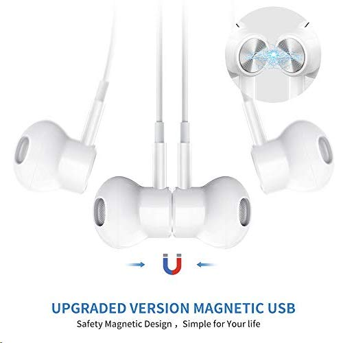 KINGONE USB C Headphones 2021 HiFi Stereo Type C Earbuds with Mic and Volume Control Compatible with Google Pixel 4 3 2 XL,Sony XZ2, OnePlus 6T and More Type C Port Model -White