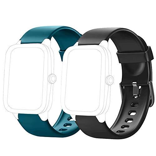 Flenco Correa de Repuesto para Reloj de Actividad ID205 ID205L ID205S ID205U ID20G Pulseras de Repuesto (Negro + Verde)