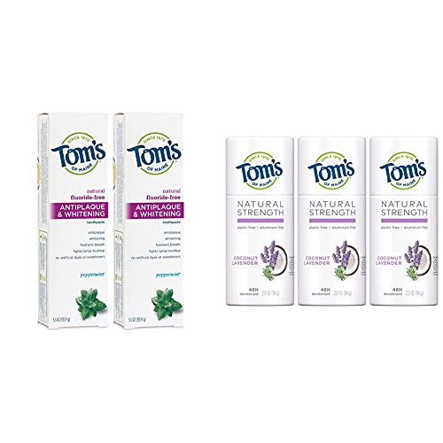 Tom's of Maine Fluoride-Free Antiplaque & Whitening Toothpaste, Peppermint, 2-Pack + Plastic-Free and Aluminum-Free Deodorant, Coconut Lavender, 3-Pack
