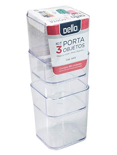 Kit com 3 Porta Objetos Multiuso Cristal PROTEA, Cristal