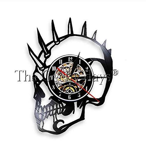 NOlogo Vinyl WanduhrWeihnachten Punk Schädel Lichter Mohawk Mohican Dead Skull Vinyl Schallplattenuhr Dekorative Grammophon Wanduhr Handgemachtes Geschenk30cm.