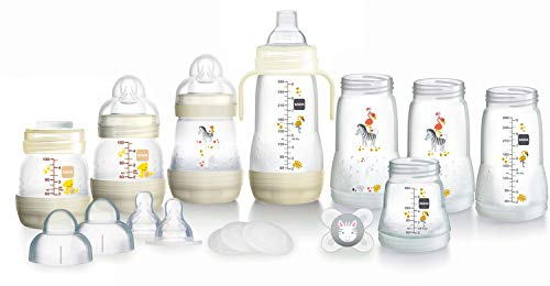 MAM Easy Start Selbststerilisierendes Anti-Kolik-Starter-Set, Neugeborenen-Flaschenset und Schnuller, Neugeborenen-Essentials, Weiß (Designs können variieren)