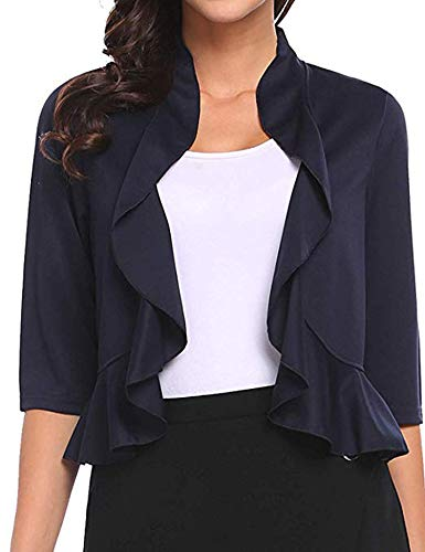 Zeagoo Women Long Sleeve Bolero Shrug Cropped Cardigan Sweater Shrug Bolero Jackets Navy Blue, Medium
