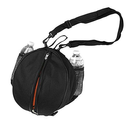FoRapid Size 7 (29.5') Basketball Bag Soccer Ball Football Volleyball Softball Sports Ball Bag Holder Carrier+Adjustable Shoulder Strap 2 Side Mesh Pockets f/ Water Bottle Towel Sports Shoes (Black)