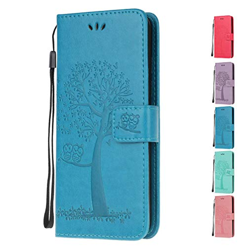Leather Wallet Phone Case for Samsung Galaxy A20e Flip Cover with Owl Life Tree Pattern Design Card Holder Slot Silicone Protective for Girls Boys - Blue Owl