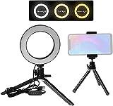 Gymqian Luz de Anillo Led de 6 Pulgadas 3 Colores 3500-6500K Temperatura 10 Niveles Dimmable con Trípodes Tenedor de Teléfono para Retrato de Maquillaje en Vivo Sream ligero