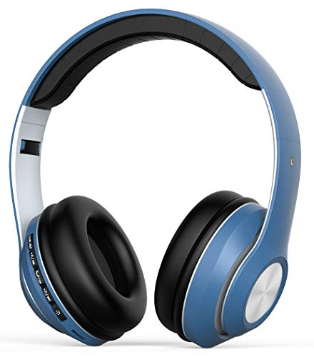 Cuffie Bluetooth, Senza fili Over ear Headphones con microfono [Modalità wireless e cablata, Folable, Audio stereo Hi-Fi] per Smartphone   PC   TV- G5, blu