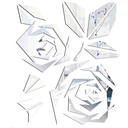 WXXW 36 Piezas de Pegatina Espejo Adhesivo de Rosas de Espejos Adhesivos de