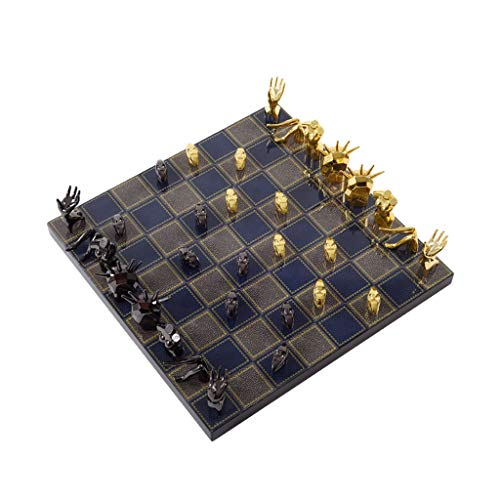 VIMI Juego de ajedrez Ajedrez metálico Abstracto International Chess Pieces Family Chess Set Creative Ornamentos Regalos para los Amantes del ajedrez Juguetes educativos de Aprendizaje