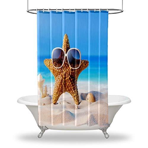 Henge Home Seashell Impreso duchas Cortina/Impermeable botón Agujero Ducha Cortinas para Sus Decoraciones de baño de bañera - Gafas de Sol de estrel