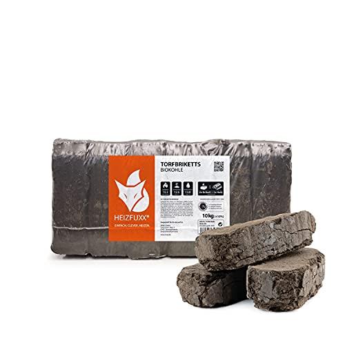 Torfbriketts Ruf Bio Braunkohle Torf Gluthalter Dauerbrenner Kamin Ofen Brenn Holz Heiz Kohle Brikett 10kg x 3 Gebinde 30kg / 1 Karton Paligo