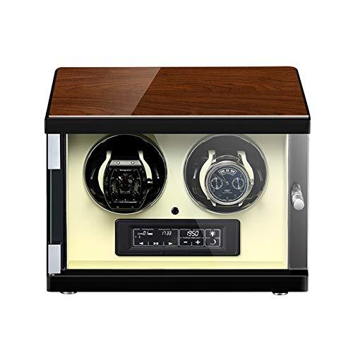 Jlxl Enrollador Reloj Automático Caja Enrolladora Reloj Doble Pantalla LCD Táctil Iluminación Incorporada Motor Silencioso Concha Madera Accesorios (Color : White)