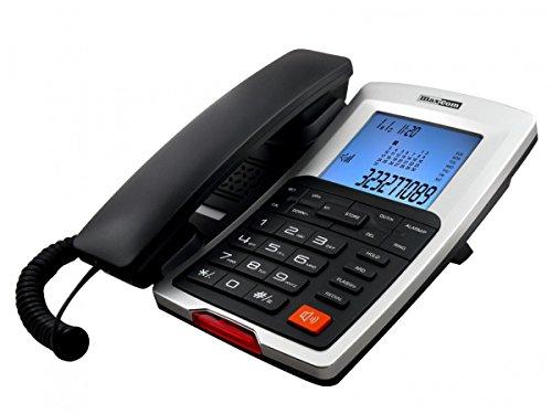 Teléfono Fijo Maxcom KXT709, Manos Libres. LCD retroiluminado, Color Negro/Plata