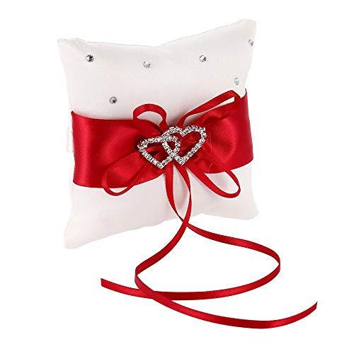 ysister Hochzeit Ringkissen, Ring Kissen Eheringe Brautkissen Quadratische Form, verziert mit Spitze Blume, Satin Bowknot und Strass für Hochzeitszeremonie 15 x 15cm