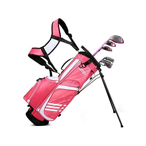 Golfbags, Golftasche, Stand-und Tragebag, Golftasche für Kinder, wasserdichte Golftasche, für bis zu 9 Schläger, Großer Kapazität, Nylon Pink-Small
