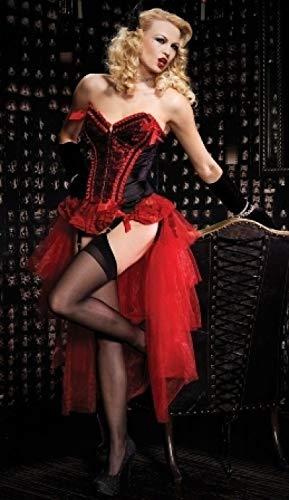 WSJDE Damen Erwachsene Burlesque Tänzerin Moulin Lila Kostüm Cabaret Halloween Kostüm für Damen M Rot