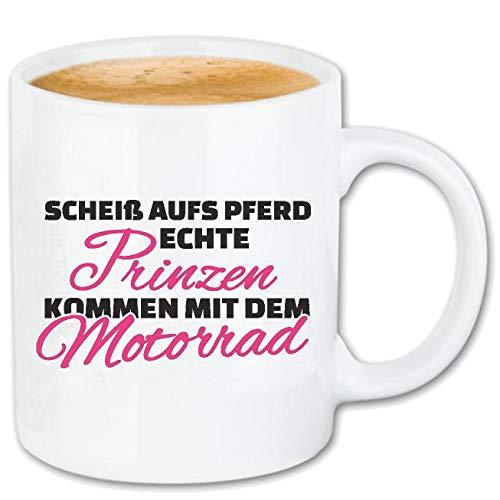 Bandenmarkt koffiemok SCHITT OP PAARD - ECHTE PRINZEN KOMMEN MET DE MOTORFIETSJE - JONGEVEN SHIRT - PARTY - STEMING keramiek 330 ml in wit