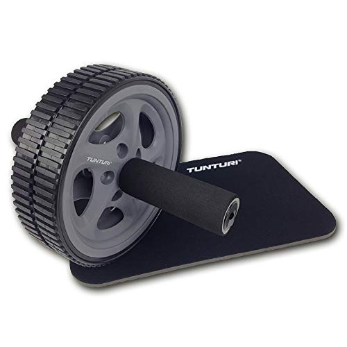 Tunturi Ab Roller, Trainingsrad für Bauchmuskeln, Bauchmuskeltrainer mit Knieauflage, Training für Oberkörper und Gleichgewicht