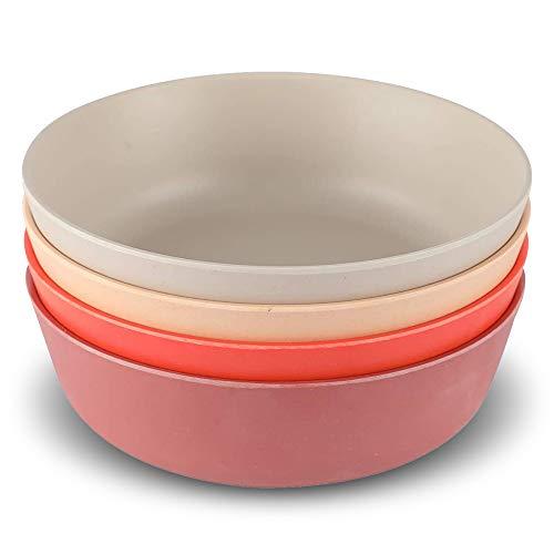 shopwithgreen Baby Schalen, 4er Bambus Schüssel-Set, Bambusfaser Geschirr Set- Müslischale Salatschale Obstschale Suppenschüssel für Kinder | BPA-frei | Spülmaschinenfest & Stapelbar…