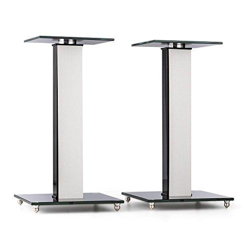 auna BS-03S-WHOA - Lautsprecher-Ständer, Boxenständer, Lautsprecher Podest, Aluminiumsäule, Getöntes Sicherheitsglas, 10 kg max. Belastbarkeit, drehbare 20 x 20cm Glas-Stellfläche, graue Eiche