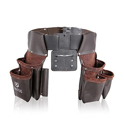 LAUTUS Oil Tanned Leather Tool Belt Rig, Carpenter, Construction, Framers, Handyman - 100% LEATHER  Adjustable Pockets  8 Pockets   4 Loop & Hammer Holder 