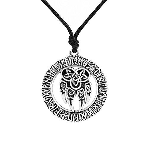 Talisman amuleto eslavo Viking dios símbolo con envejecido de pata de oso y nudo de la suerte colgante collar joyas