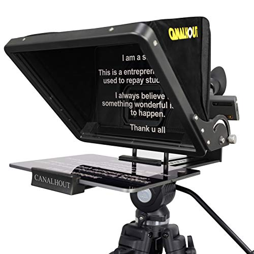 CANALHOUT 16' Universal Adjustable Teleprompter,Suitable All Tablets,Shoot with Video Camera/DSLR, No Assembly Required,70/30 Beam Splitting Glass,Waterproof Tote,Interview,Speech,Video Creation
