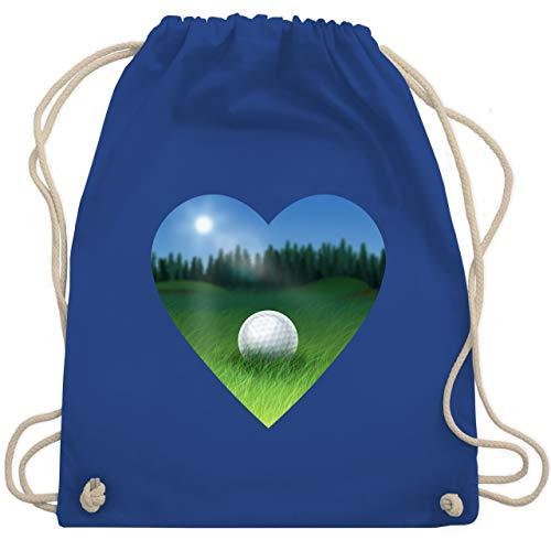 Shirtracer Golf - Golf Herz Wiese - Unisize - Royalblau - Wald - WM110 - Turnbeutel und Stoffbeutel aus Baumwolle