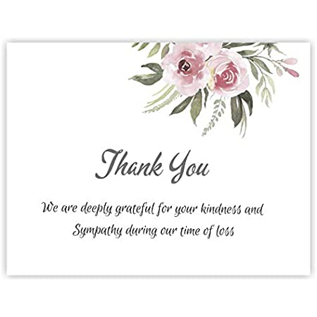 Impressions 25 Sympathy Acknowledgement Cards,Flat Funeral Thank You Notes Includes envelopes.