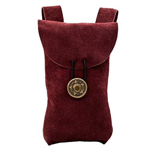 Mythrojan Medieval Renaissance Suede Jewelry Belt Pouch LARP Costume Waist Bag - Wine Red