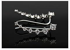 Elensan 7 Crystals Ear Cuffs Hoop Climber S925 Sterling Silver Earrings Hypoallergenic Earring #2