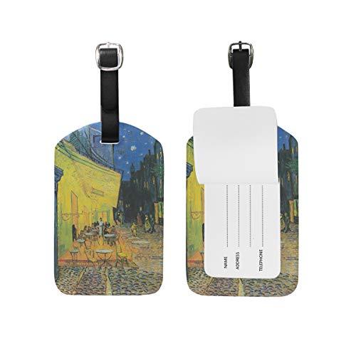 Eslifey Van Gogh Cafe Terrace Place Du Forum at Night - Etiquetas de equipaje de piel sintética para maleta de viaje