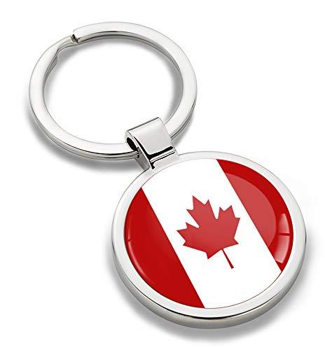 Biomar Labs® Schlüsselanhänger Metall Keyring mit Geschenkbox Autoschlüssel Geschenk Metall-Schlüsselanhänger Schlüsselbund Edelstahl Kanada Kanadische Canada Flagge KK 184