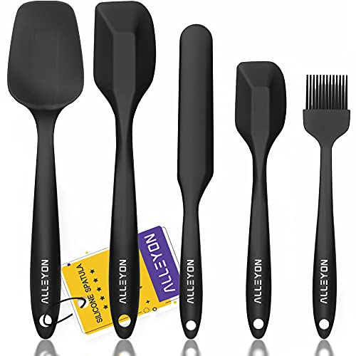 Alleyon Silicone Spatula Set, High Heat-Resistant One Piece Design, Non-Stick Rubber with Stainless Steel Core, Baking/Cooking Utensil, Set of 5