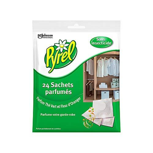 Pyrel Parfum Garde Robe sans Insecticides - Thé Vert & Fleur d'Oranger, 24 sachets