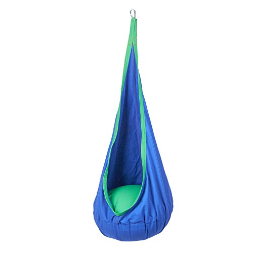 Sfeomi Kids Pod Swing Seat Hammock Child Hanging Chair Cotton Child Hammock Chair for Indoor and Outdoor, Home and Garden (Blue)