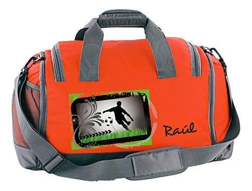 Mein Zwergenland Sporttasche Kinder mit Schuhfach und Nassfach Kindersporttasche 41L mit Namen personalisiert, Motiv Fußballer, in Orange