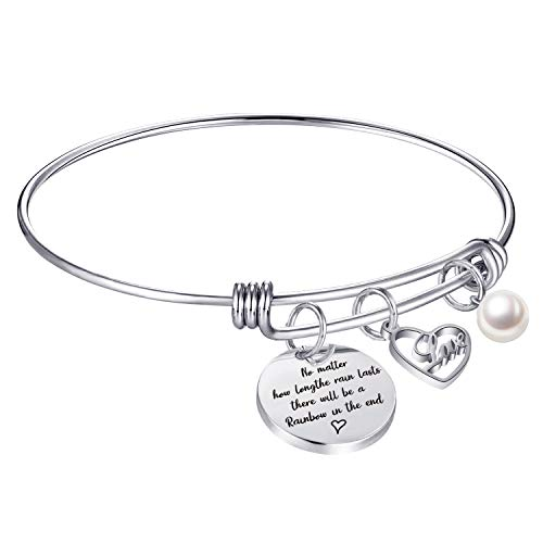 Inspirational Jewelry No matter how long the rain lasts, there will be a rainbow in the end Encouragement gifts for women Teens Girls (No matter how long the rain lasts,there will be a rainbow...)