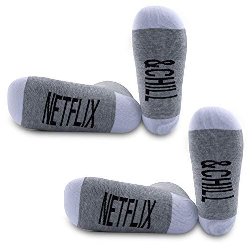 PYOUL 2 Paar Netflix Geschenke Netflix und Chill Lustige Socken Netflix und Chill Geschenk Muttertag Geschenk Valentinstag Socken Geschenk Gr. 33, Netflix & Chill