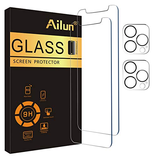 Ailun 2 Pack Screen Protector Compatible for iPhone 12 Pro Max[6.7 inch] + 2 Pack Camera Lens Protector,Case Friendly Tempered Glass Film,[9H Hardness] - HD