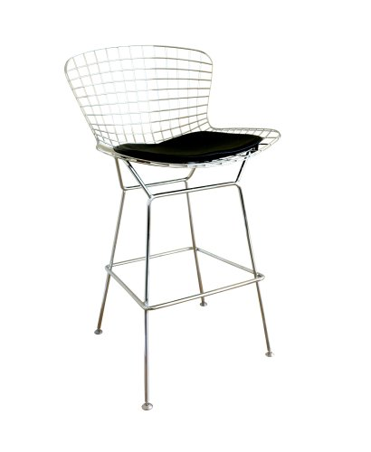 Hot Sale Baxton Studio Taddeo Mesh Bar Stool with Leatherette Seat Pad