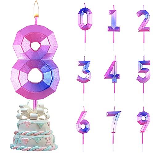 Candele di Compleanno Numbero,Numero Candele di Compleanno Glitter,Candele Torta Compleanno, per Feste di Anniversario di Matrimonio, Serate di Laurea (8)