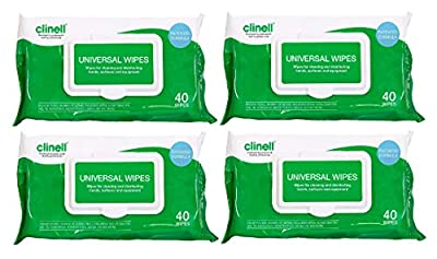 Clinell Universal Sanitising Wipes 40 (4 Pack of 40 wipes) from
