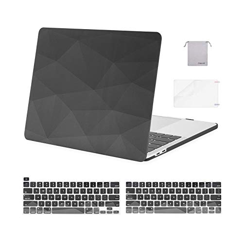 MOSISO Compatible with MacBook Pro 13 inch Case 2020 2019 2018 2017 2016 Release A2338 M1 A2289 A2251 A2159 A1989 A1706 A1708, Plastic Hard Case&Keyboard Cover&Screen Protector&Pouch, Gray Geometric