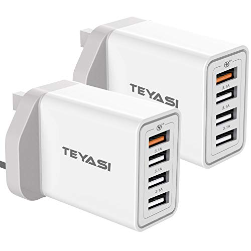 TEYASI Multi USB Fast Charger Plug [2 Pack],34W/6A Quick Charging 3.0 Wall Charge Mains 4Port USB Plug Adapter UK for Samsung Galaxy S10 Plus S9 S8 S7 A20s A21s A41 A50 A51 5G Note9,iPhone,Huawei etc