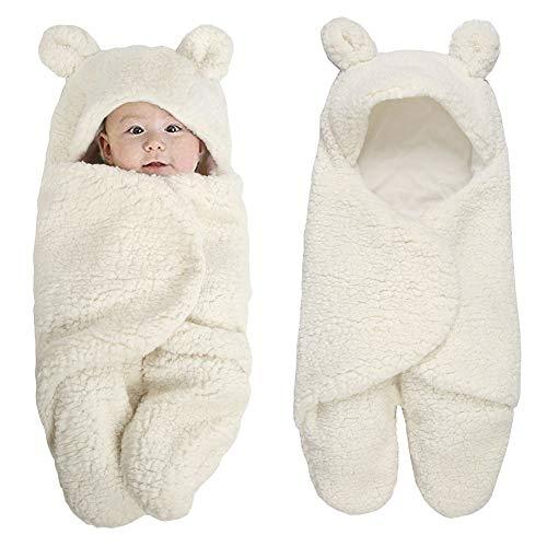 Shager Sacco a pelo per neonati con piedi, caldo e morbido pile, con cappuccio, per neonati e ragazze, 0-6 mesi (bianco, S)