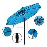 ABBLE Outdoor Patio Umbrella 9 Ft Stripe with Crank and Tilt, Weather Resistant, UV Protective Umbrella, Durable, 8 Sturdy Steel Ribs, Market Outdoor Table Umbrella - Aqua