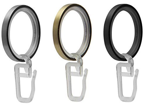 Garduna 20 FLACHRINGE | Messing-antik | Set à 20 Stück | Metall - mit Gleiteinlage | für Ø16 & Ø20mm Gardinenstangen