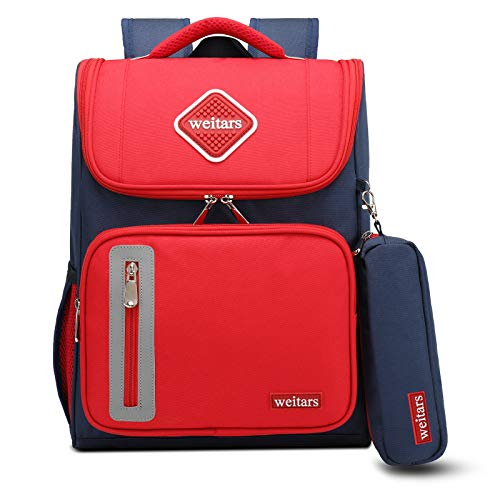 Weitars Kids School Backpack for Girls, Large Capacity Schoolbag for Children,Book bagsBreathable Fabric (Modern Red)