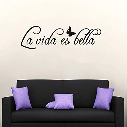 Vinilo Adhesivo Mural Cita en español La Vida ES Bella Art Tatuajes de pared Niños Decoración del hogar Decoración de interiores 19x69cm